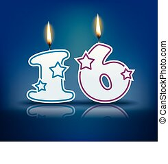 Birthday candle number 16 - Birthday candle number with...