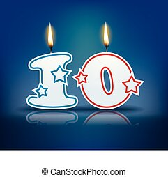 Birthday candle number 10 - Birthday candle number with...