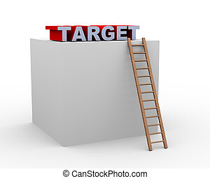 3d ladder box and target - 3d illustration of ladder and box...