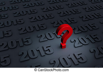 """Worried About 2015 - A red """"?"""" stands out in a dark..."""