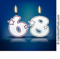 Birthday candle number 68 - Birthday candle number with...