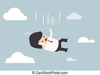 Businessman falling from the sky, VECTOR, EPS10