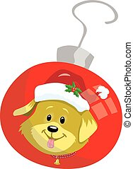 Puppy on red Christmas Ornament
