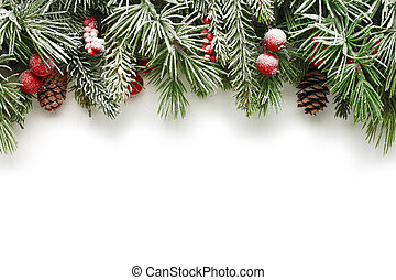 Christmas tree branches background - Snow covered Christmas...