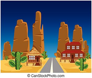 Road in desert - Vector illustration of the car road in...