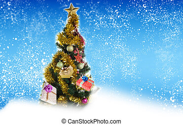Christmas Eve tree with Gifts.New Year