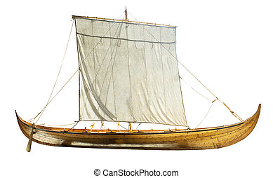 Wooden boat with sails unfurled, isolated on white