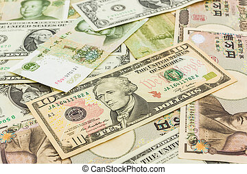 World banknotes background - Colorful of World banknotes...