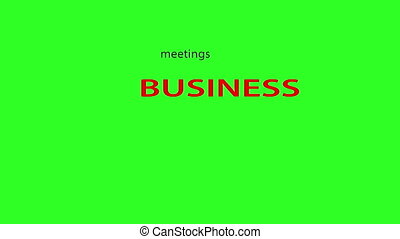 Business related words text animation. Green screen...