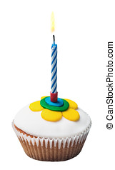abrasador, vela, en, el, Cupcakes, con, decoraciones, de,...