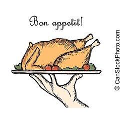 Bon Appetit delicious dish, element for a restaurant menu...