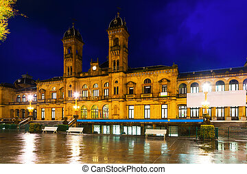 night view of City hall of Donostia, Spain - City hall in...