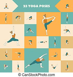 Yoga poses. - Yoga. Set of twenty three asanas (yoga poses).