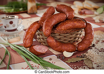 sausage - delicious sausages in a wicker basket
