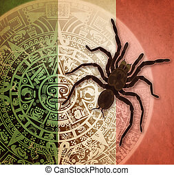 Background with Aztec calendar and tarantula - Background in...