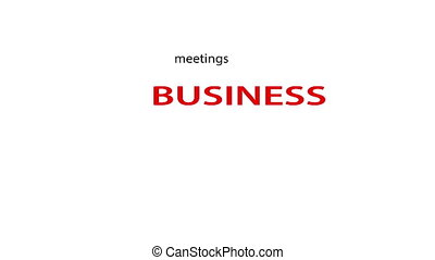 Business related words text animation. White screen...