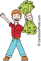 holding cash cartoon child.