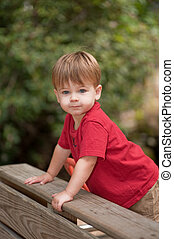 two year old boy in red shirt out side at a park