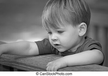 two year old boy in black and white