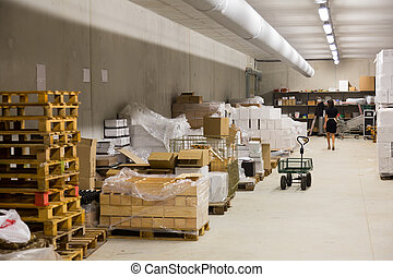 Interior of warehouse - warehouse of store or industry plant...