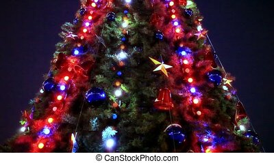 Christmas tree and decorations on night background. Shift motion. HD. 1920x1080