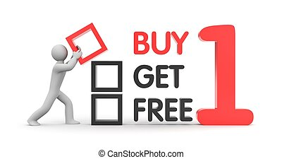 Buy one get one free - Business concept Isolated on white