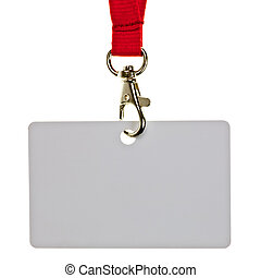 Blank badge with red neckband on white background
