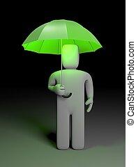 Man and umbrella - Safety metaphor Conceptual 3d image
