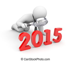 Businessman examine 2015 word - Illustration for New Year...