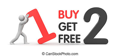 Buy one get two free - Sales and shopping Isolated on white