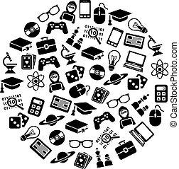 geek icons in circle
