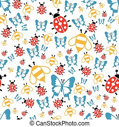 spring bugs seamless pattern