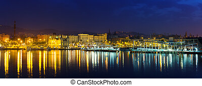 panorama of Barcelona from Port Vell in summer night....