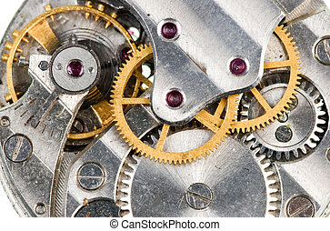 Clockwork - Detail of old wristwatch mechanism