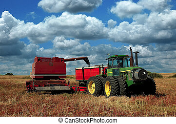 Pull Combine dumping harvest Canola into grain truck - A...