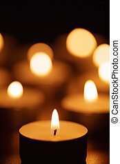 burning candles with beautiful out of focus, shallow DOF