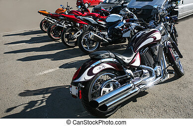 motorcycles on parking  - powerful motorcycles on parking