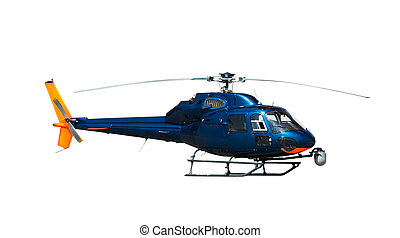 Blue helicopter, isolated on white