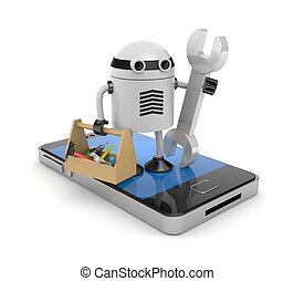 Mobile phone with robot - New technologies metaphor....