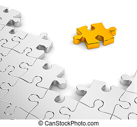Jigsaw puzzles in gold and chrome - Business concept....