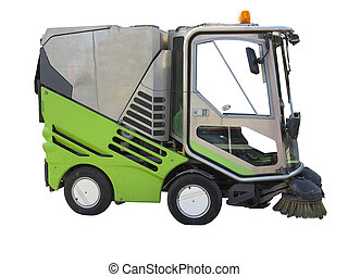 Green street sweeper machine isolated on white background -...