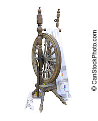 Old manual wooden spinning-wheel distaff isolated on white backg