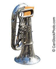 vintage old tuba with notes isolated on white background -...