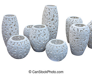 Decorative white clay vessel with pattern isolated on white back