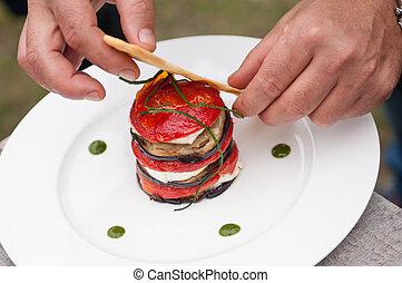 skewer of eggplant tomato mozzarella