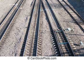 Railroad tracks and switch - Landscape with many railroad...