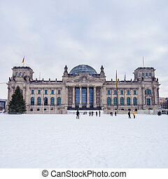 german bundestag in winter - german parliament in december...