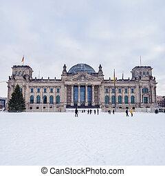 german bundestag in winter - german parliament in december...