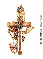 old golden crucifix isolated on the white background