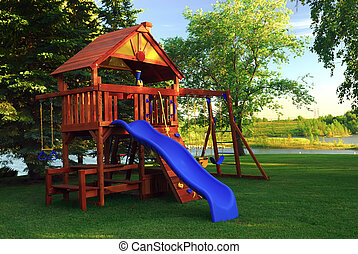 Back Yard Play Structure - A summer children\'s play...